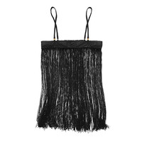 Leather Short Fringe Slip