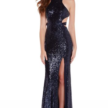 Alyce 60037 Sequin Dress with Cutout Back- Navy