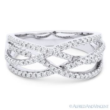 0.44 ct Round Cut Diamond Right-Hand Overlap Loop Fashion Ring in 14k White Gold