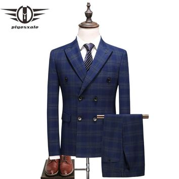Men Double Breasted Suits Spring Autumn Groom Wedding Suit 3 Piece Blue Striped Suit Business Wear