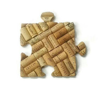 Wine cork puzzle piece | trivet hot plate | wall hanging