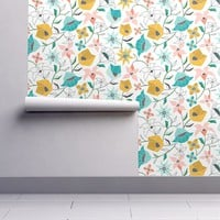 Isobar Durable Wallpaper featuring Calliope - Geometric Floral Aqua Pink & Gold by heatherdutton
