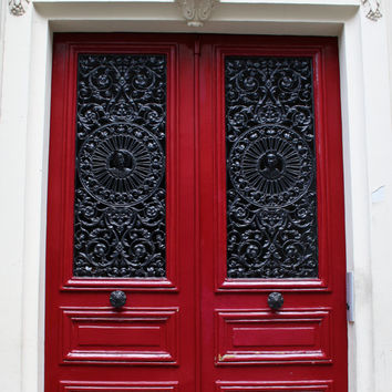 Paris Photography Paris Red Door Red Wall Art Red Home Decor Paris Door  Travel Photography Red
