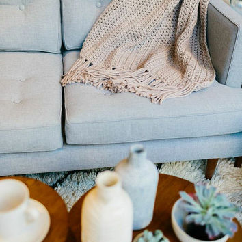 The Toulouse - Spring Throw Blanket, Lightweight handmade knit throw blanket - LINEN