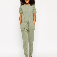 ASOS Washed Casual Jumpsuit With Drawstring at asos.com