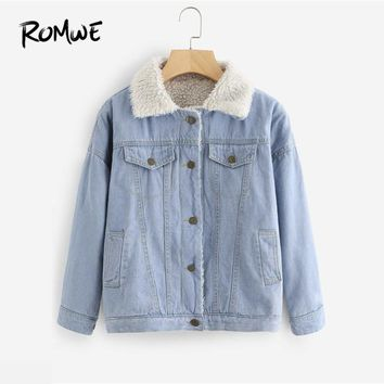 Trendy ROMWE Faux Shearling Lined Denim Jacket Women Blue Single Breasted Jean Jackets 2018 Preppy Long Sleeve Jacket AT_94_13