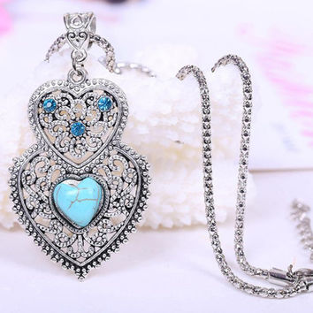 Double Heart Turquoise Necklace