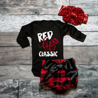 Red Lip Classic Shirt Bodysuit  Baby Girl Clothes Baby Girl Shirt Baby Gift White And Gold #24