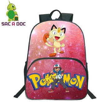 Women  Meowth Bulbasaur Pink Galaxy Star Backpack Teenager Girls Boys Universe Space School Bags Children  BagpackKawaii Pokemon go  AT_89_9
