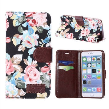 Floral Print Leather Case Wallet