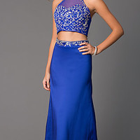 Two Piece Floor Length Halter Dress