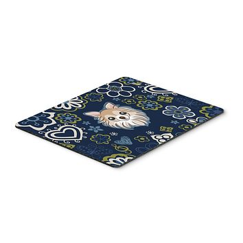 Blue Flowers Chihuahua Mouse Pad, Hot Pad or Trivet BB5102MP