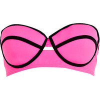 Pink and black contrast bustier bikini top