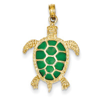 14K Green Translucent Acrylic Sea Turtle Pendant K4256