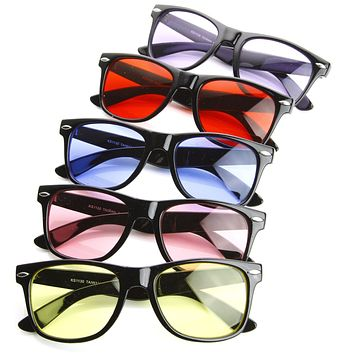 Limited Edition Color Tinted Lens Horned Rim Sunglasses 8803 [5 Pack]