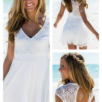 Easy On The Eyes White Short Sleeve Lace Eyelet Dress
