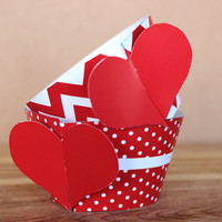 Red Heart 3D Cupcake Wrappers - DIY printable party supplies – heart wraps for birthday, anniversary, or Valentine's Day - instant download