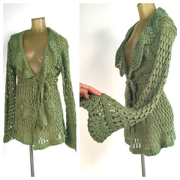 Long Wrap Sweater, Open Weave Crochet Boho Cardigan Sweater, Olive Green Cardigan, Tie Waist Sweater Jacket, Bohemian Wrap Cardigan M