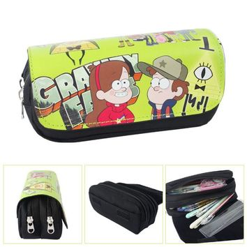 Gravity Falls Anime Canvas Double Zipper Wallet Students Stationery Case #230 Large Capaeity Pencil Bag Kids Gift