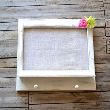 Shabby Chic Distressed White Entry Organizer with Shelf, Hooks, Burlap, Flowers