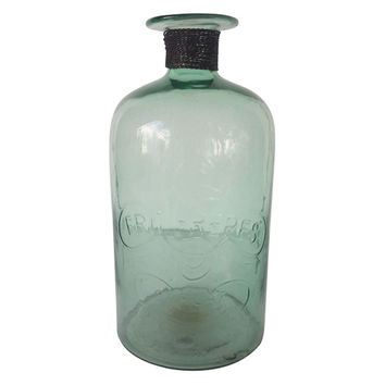 Glass Bottle w/Iron Braid, Green, Medium, Jars, Canisters, Tins & Bottles
