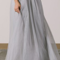 Anabelle Grey Full Tulle Maxi Skirt