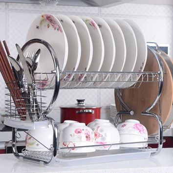 Homdox 2 Tiers Stainless Steel Dish Rack Kitchen Cup Drying Rack Drainer Dryer Tray Cutlery Holder Organizer#2520