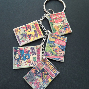 The Avengers comic book charm bracelet/keychain glows in the dark