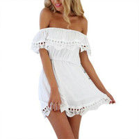 2016 Women's Fashion White Lace Cover Up Dress - Stylish Sexy Casual Beach Summer Sundress Coverup