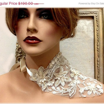 Bridal jewelry, wedding jewelry, latest fashion bib necklace design, vintage inspired pearl lace couture necklace, Champagne lace ribbon bib