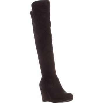 Chinese Laundry Lovey Over The Knee Wedge Boots, Black, 9 US / 40 EU