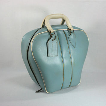 -Vintage Colonial Blue Vinyl Bowling Bag