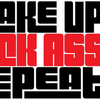 """Wake Up Kick Ass Repeat Funny die cut 2-color decal sticker 7.1"""" x 12.5"""" black/red"""