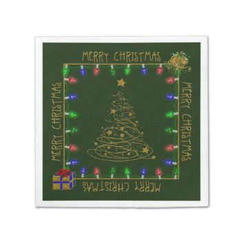 Merry Christmas Lights-Green-2-PAPER NAPKINS