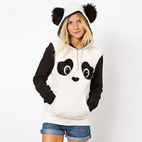 Women White Panda Cute Hoodies Animal Plus Size Ear Hooded Sweatshirt