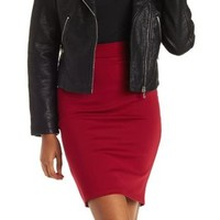 Red Ponte Knit Pencil Skirt by Charlotte Russe