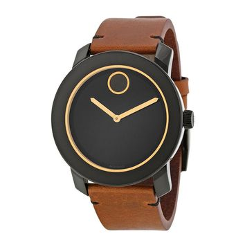 Movado Bold Black Dial Orange-toned Hands Brown Leather Band Mens Quartz Watch