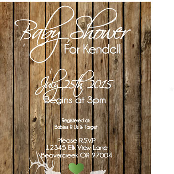 Elk Baby Shower Invitation - Country Baby Shower - Digital File