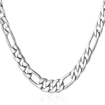 "5MM Men Necklace Stainless Steel Figaro Chain  [18"", 22"", 26"", 28"", 30""]"