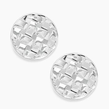 Stud Round Earrings - Silver