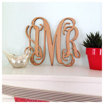 6 inch Vine Monogram - Laser Cut Birch - Wall Decor, Door Hanger, Wreath, Wedding Decor - Unfinished, Unpainted