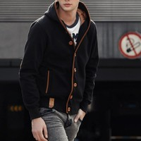 2017 College Style Youth Streetwear Men's Autumn Winter Hoodies Sweatshirt Buttons Down Cardigan Coat Hooded Hoodie Jacket Men