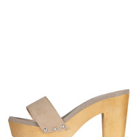One Strap Wooden Heels - Natural