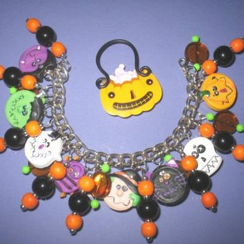 Halloween Party Charm Bracelet Jewelry JOL Bat Witch Skull Frankenstein Ghost Vampire Cat OOAK Spooky Cute Accessory
