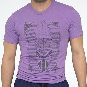 Violet Purple Illustrated Surfboard Tee