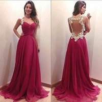 Deep V neck dress long dress red dress = 5739520001