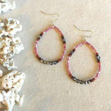 Pink Beaded Hoop Earrings - Seed Bead Hoop Earrings - Wire Wrapped Earrings - Pink Chandelier Earrings - Bohemian Hoop Earrings