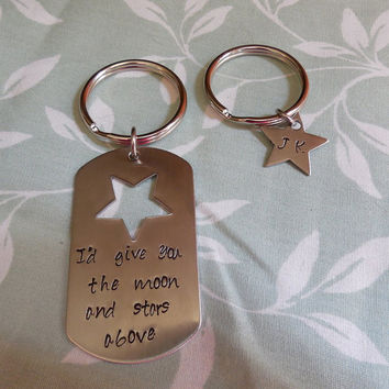 Key Chain Set Dog Tag/Star - I'd give you the moon and stars above