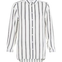 White Stripe Dip Hem Long Sleeve Shirt