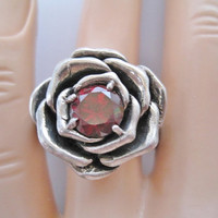 Vintage Red Topaz Rose Ring Sz 11 Sterling Heavy